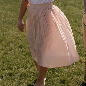 Who What Wear Skirts - Who What Wear Pink Pleated Skirt